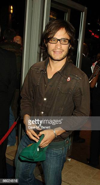 """Actor Gael Garcia Bernal attends the LFF premiere of """"Walk The Line,"""" a film based on the story of Johnny Cash at Odeon West End on October 27, 2005..."""