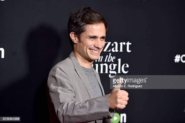 Actor Gael Garcia Bernal attends the screening and QA for Amazon's 'Mozart In The Jungle' at Hollywood Roosevelt Hotel on April 21 2016 in Hollywood...
