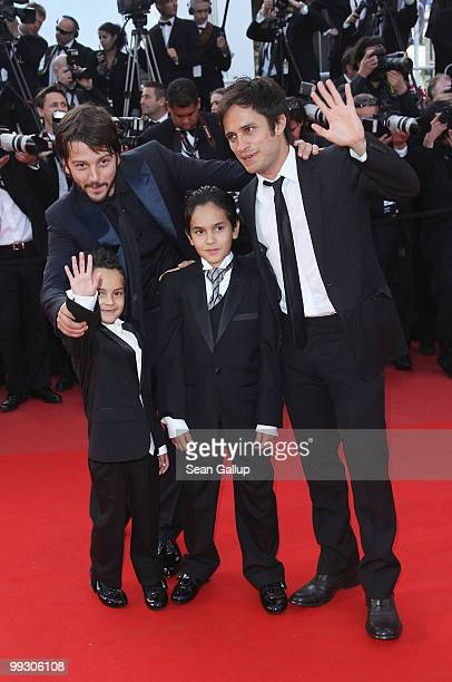 Actor Gael Garcia Bernal director Diego Luna Gerardo RuizEsparza and Christopher RuizEsparza attend the Abel Premiere at the Palais des Festivals...