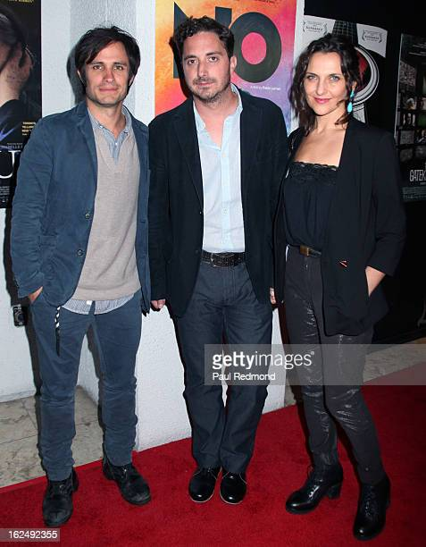 Actor Gael Garcia Bernal director Pablo Larrain and actress Antonia Zegers attend Sony Pictures Classics PreOscar Dinner at The London Hotel on...
