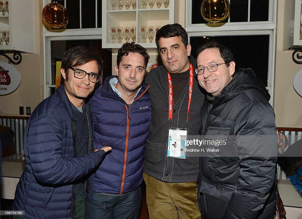 Actor Gael Garcia Bernal, director Pablo Larrain, director Dror Moreh and co-president and co-founder of Sony Pictures Classics, Michael Barker attend the Stella Artois Cafe on January 18, 2013 in Park City, Utah.