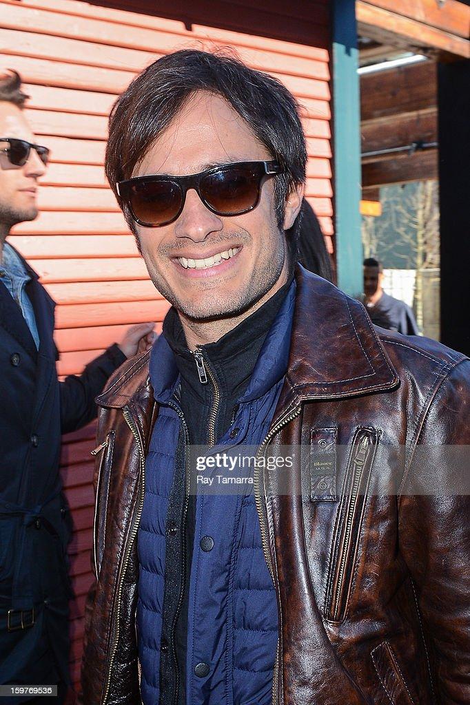 Actor Gael Garcia Bernal leaves the Nikki Beach Lounge at the Sky Lodge on January 19, 2013 in Park City, Utah.