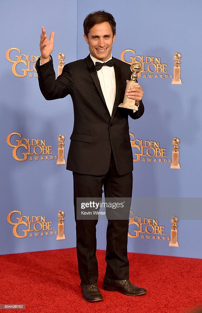 Actor Gael Garcia Bernal, winner of Best Performance in a Television Series - Musical or Comedy for 'Mozart in the Jungle,' poses in the press room during the 73rd Annual Golden Globe Awards held at the Beverly Hilton Hotel on January 10, 2016 in Beverly Hills, California.