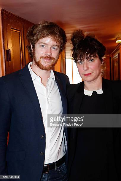 Actor Gael Giraudeau and Anne Auffret attend as the French actress Anny Duperey is decorated with 'Officier de la Legion d'Honneur' at Theatre du...