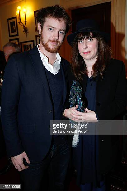 Actor Gael Giraudeau and Anne Auffret pose after the 'Ma Vie Revee' : Michel Boujenah One Man Show at Theatre Edouard VII on November 24, 2014 in...