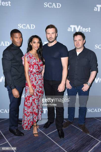 Actor Gaius Charles Actress Brooklyn Sudano Actor Clive Standen and Executive producer and showrunner Alex Cary attend a press junket for 'The Taken'...