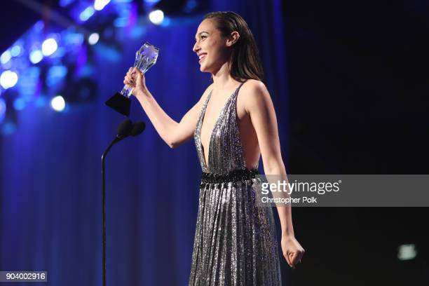 Actor Gal Gadot accepts the SeeHer Award onstage during The 23rd Annual Critics' Choice Awards at Barker Hangar on January 11 2018 in Santa Monica...