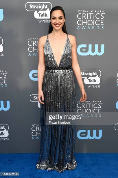 Actor Gal Gadot attends The 23rd Annual Critics' Choice Awards at Barker Hangar on January 11 2018 in Santa Monica California