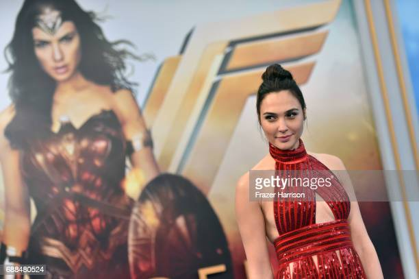 "Actor Gal Gadot attends the premiere of Warner Bros. Pictures' ""Wonder Woman"" at the Pantages Theatre on May 25, 2017 in Hollywood, California."