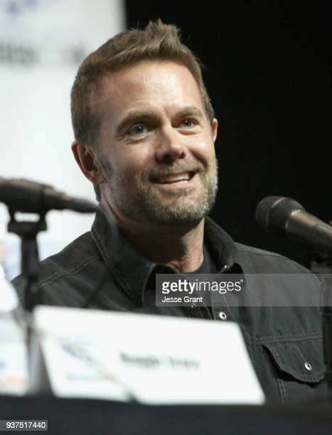 Actor Garret Dillahunt speaks onstage during AMC's 'Fear of the Walking Dead' panel at WonderCon at Anaheim Convention Center on March 24 2018 in...