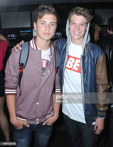 Actor Garrett Backstrom and actor Colin Ford attend Sterling Beaumon's Summer Bash on July 27 2012 in Hollywood California