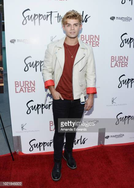 Actor Garrett Clayton arrives at the premiere of Magnolia Pictures' 'Support The Girls' at ArcLight Hollywood on August 22 2018 in Hollywood...