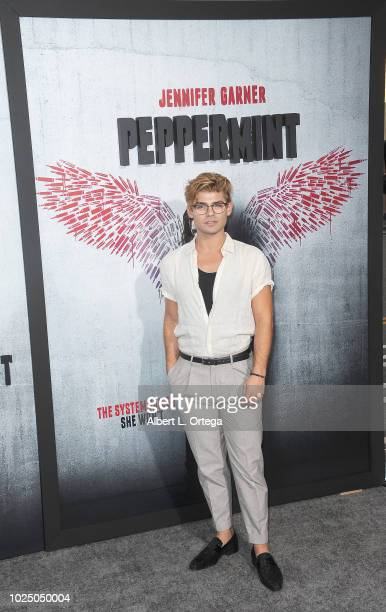 Actor Garrett Clayton arrives for the Premiere Of STX Entertainment's Peppermint held at Stadium 14 on August 28 2018 in Los Angeles California