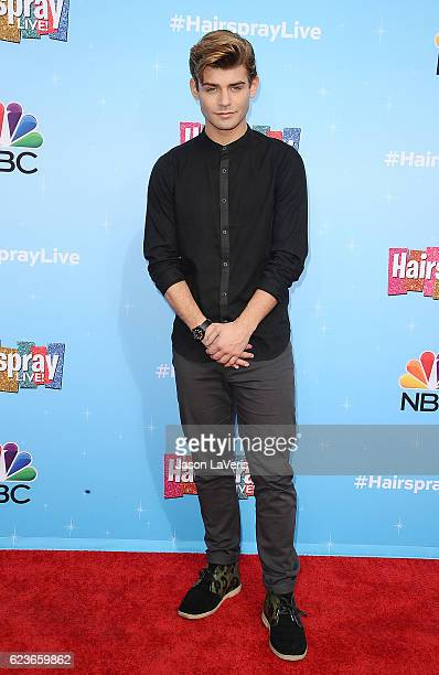 Actor Garrett Clayton attends the press junket for NBC's 'Hairspray Live' at NBC Universal Lot on November 16 2016 in Universal City California