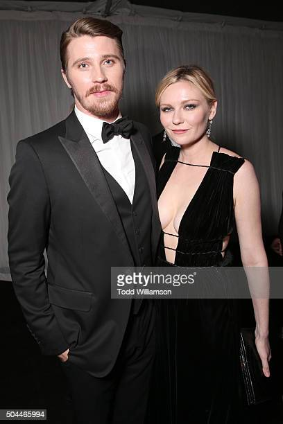Actor Garrett Hedlund and actress Kirsten Dunst attend FOX Golden Globe Awards Party 2016 sponsored by American Airlines at The Beverly Hilton Hotel...