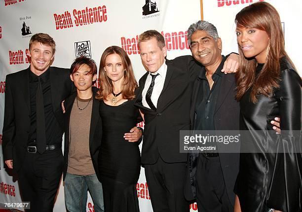 Actor Garrett Hedlund director James Wan actress Kelly Preston actor Kevin Bacon producer Ashok Amritraj and actress Aisha Tyler attend the premiere...
