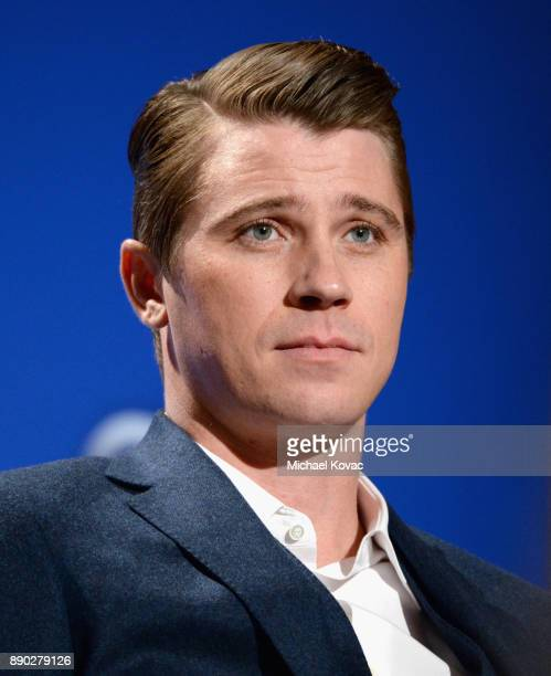 Actor Garrett Hedlund speaks during Moet Chandon Toasts The 75th Annual Golden Globe Awards Nominations at The Beverly Hilton Hotel on December 11...