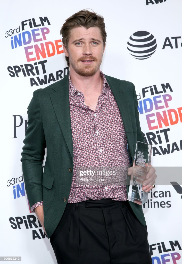 Actor Garrett Hedlund, winner of the Robert Altman Award for 'Mudbound', poses in the press room during the 2018 Film Independent Spirit Awards on March 3, 2018 in Santa Monica, California.