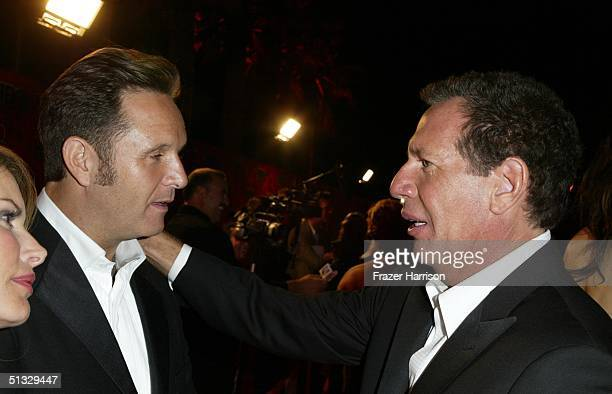 Actor Garry Shandling talks to a guest at HBO's post Emmy party following the 56th annual primetime Emmy Awards held at the Pacific Design Centre on...
