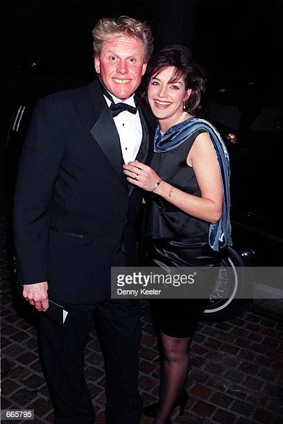 Actor Gary Busey and his wife Tiani Warden attend the AFI Awards Dinner honoring Clint Eastwood February 29 1996 in Beverly Hills CA The couple...