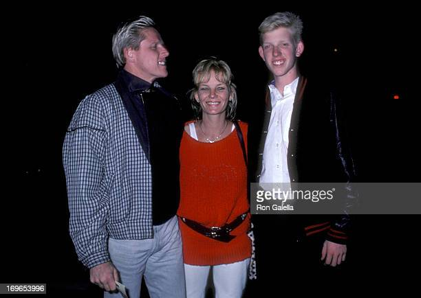 Actor Gary Busey and wife Judy and son Jake on October 27 1986 dine at Nicky Blair's Restaurant in West Hollywood California