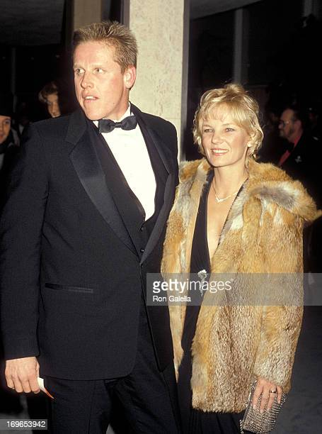 Actor Gary Busey and wife Judy attend the 43rd Annual Golden Globe Awards on January 24 1986 at the Beverly Hilton Hotel in Beverly Hills California