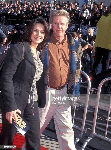 Actor Gary Busey and wife Tiani Warden attend the Star Wars 20th Anniversary Screening on January 18 1997 at the Mann Village Theatre in Westwood...