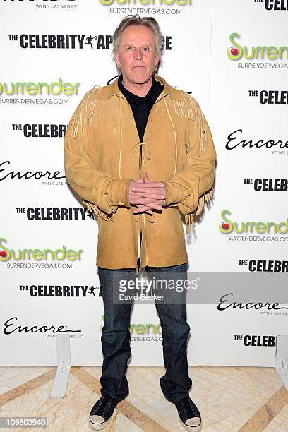 Actor Gary Busey arrives to celebrate the season premiere of 'The Celebrity Apprentice' at Surrender Nightclub at Encore Las Vegas on March 5 2011 in...
