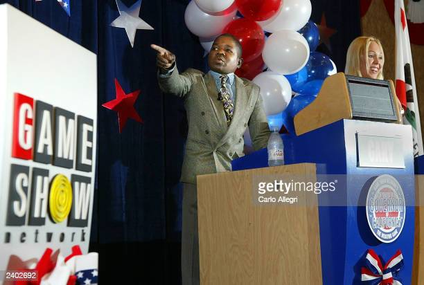 Actor Gary Coleman and porn star Mary Carey candidates for governor in California's recall election attend a news conference announcing the Game Show...
