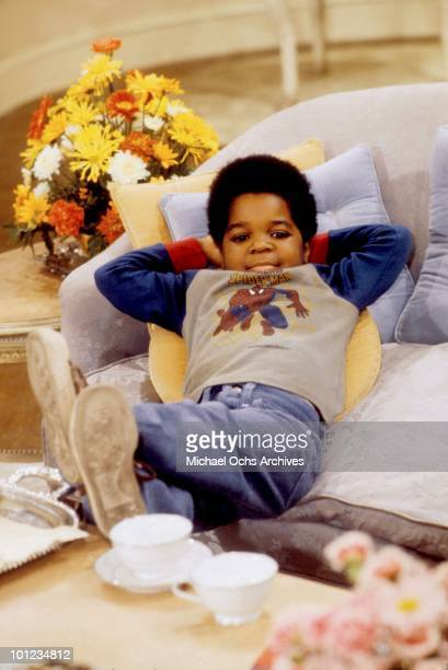 Actor Gary Coleman relaxes on the set of his show 'Diff'rent Strokes' circa 1980 in Los Angeles California