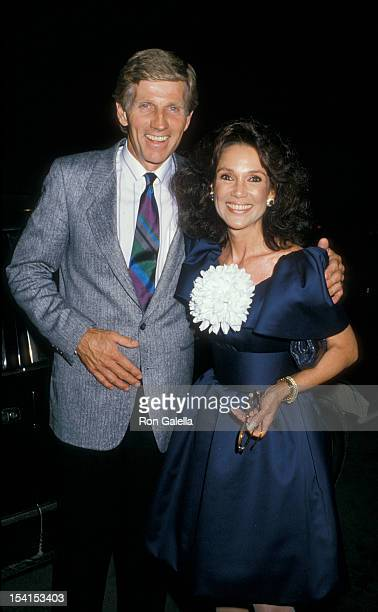 Actor Gary Collins and actress Mary Ann Mobley being photographed on August 25 1988 at La Famiglia Restaurant in Beverly Hills California