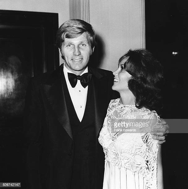Actor Gary Collins with his arm around his wife former Miss America Mary Ann Mobley attending the Marianne Frostig Center benefit at the Cocoanut...