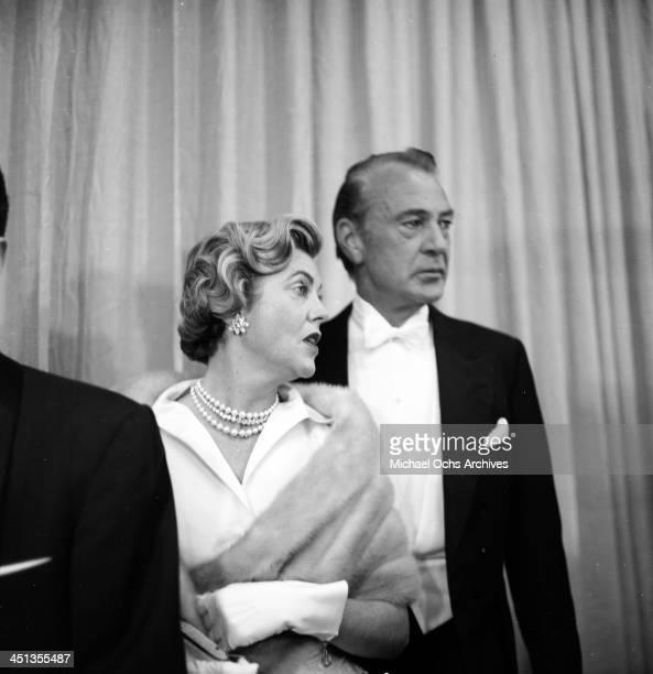 Actor Gary Cooper and his wife Veronica Balfe attends a partyl in Los Angeles,California.