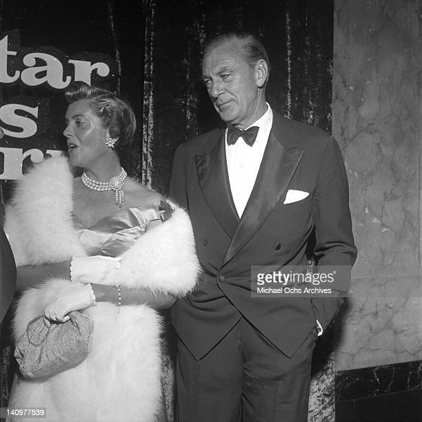 Actor Gary Cooper and his wife Veronica Cooper attend the premiere of the Warner Bros film 'A Star Is Born' on September 29, 1954 in Los Angeles,...