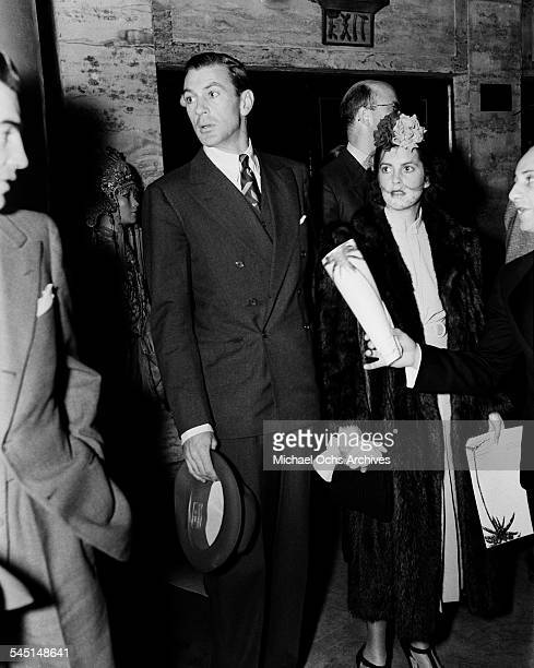 Actor Gary Cooper and wife Veronica Balfe attends an event at the Grauman's Chinese Theatre in Los Angeles California