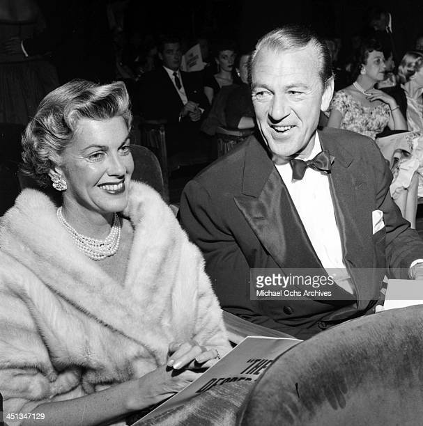 "Actor Gary Cooper with his wife Veronica Balfe attend the premier of ""Desperate Hour"" in Los Angeles,California."