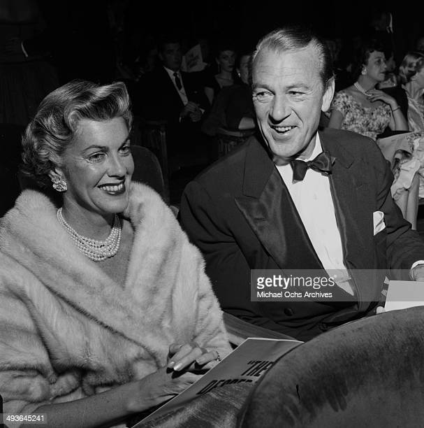 Actor Gary Cooper with his wife Veronica Balfe attend the premier of Desperate Hour in Los AngelesCalifornia