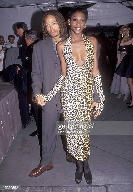 Actor Gary Dourdan and model Roshumba attend the Vogue Magazine's 100th Anniversary Celebration on April 2 1992 at New York Public Library in New...