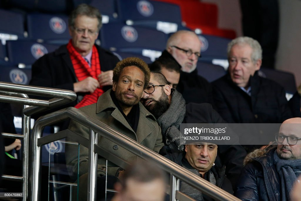 US actor Gary Dourdan (L) attends the UEFA Champions League Group A football match between Paris-Saint-Germain and Shakhtar Donetsk on December 8, 2015 at the Parc des Princes stadium in Paris.