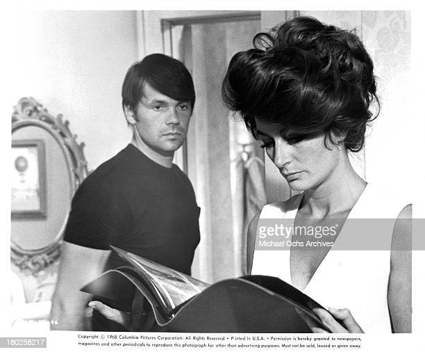 Actor Gary Lockwood and actress Anouk Aimee on the set of the Columbia Pictures movie 'Model Shop' in 1969