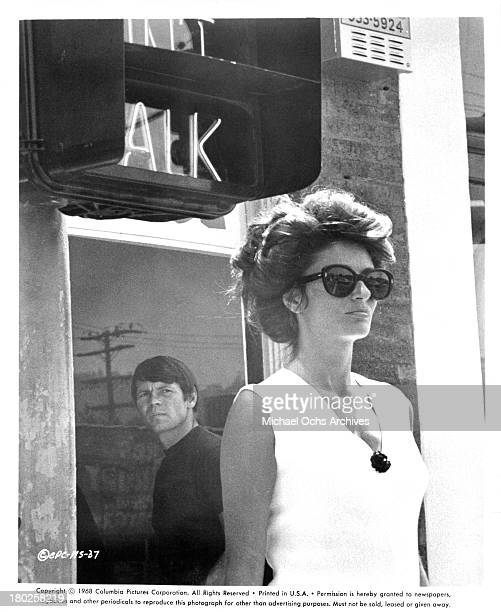 Actor Gary Lockwood and actress Anouk Aimee on the set of the Columbia Pictures movie Model Shop in 1969