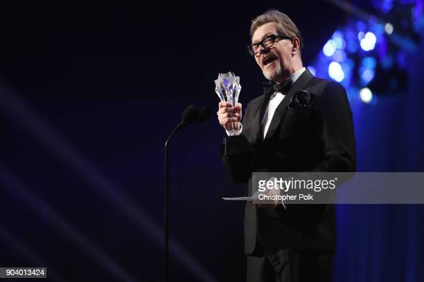 Actor Gary Oldman accepts Best Actor for 'Darkest Hour' onstage during The 23rd Annual Critics' Choice Awards at Barker Hangar on January 11 2018 in...