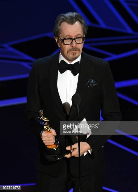 Actor Gary Oldman accepts Best Actor for 'Darkest Hour' onstage during the 90th Annual Academy Awards at the Dolby Theatre at Hollywood & Highland...