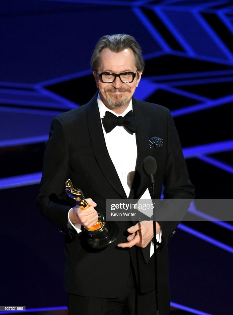 Actor Gary Oldman accepts Best Actor for 'Darkest Hour' onstage during the 90th Annual Academy Awards at the Dolby Theatre at Hollywood & Highland Center on March 4, 2018 in Hollywood, California.