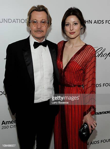 Actor Gary Oldman and Alexandra Edenborough arrive at the 19th Annual Elton John AIDS Foundation Academy Awards Viewing Party at the Pacific Design...