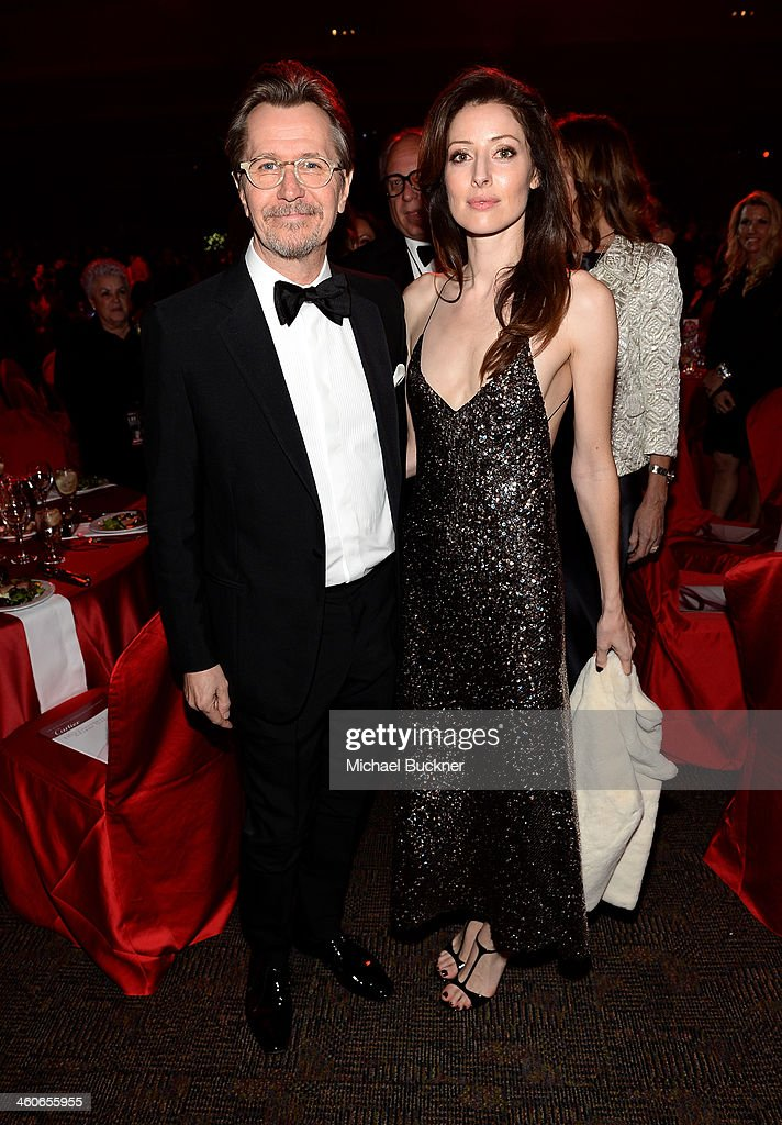 Actor Gary Oldman and Alexandra Edenborough attend the 25th annual Palm Springs International Film Festival awards gala at Palm Springs Convention Center on January 4, 2014 in Palm Springs, California.