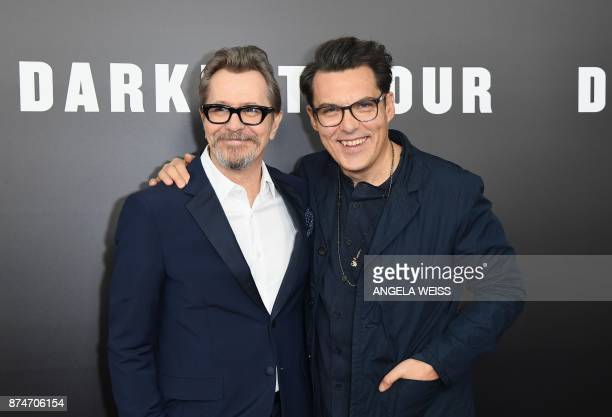 Actor Gary Oldman and director Joe Wright attend Focus Features' 'Darkest Hour' New York premiere at The Paris Theatre on November 15 2017 in New...