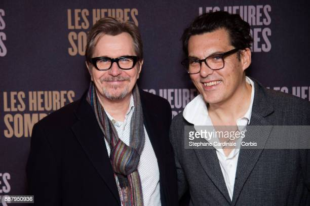 Actor Gary Oldman and director Joe Wright attend the 'Darkest Hour Les Heures Sombres' Paris Premiere at UGC Cine Cite des Halles on December 7 2017...