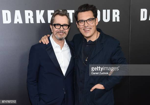 Actor Gary Oldman and director Joe Wright attend the 'Darkest Hour' New York Premiere at Paris Theatre on November 15 2017 in New York City