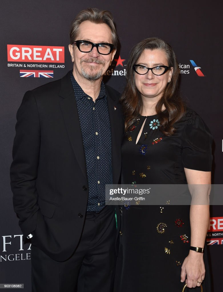 Actor Gary Oldman and Gisele Schmidt arrive at The BAFTA Los Angeles Tea Party at Four Seasons Hotel Los Angeles at Beverly Hills on January 6, 2018 in Los Angeles, California.